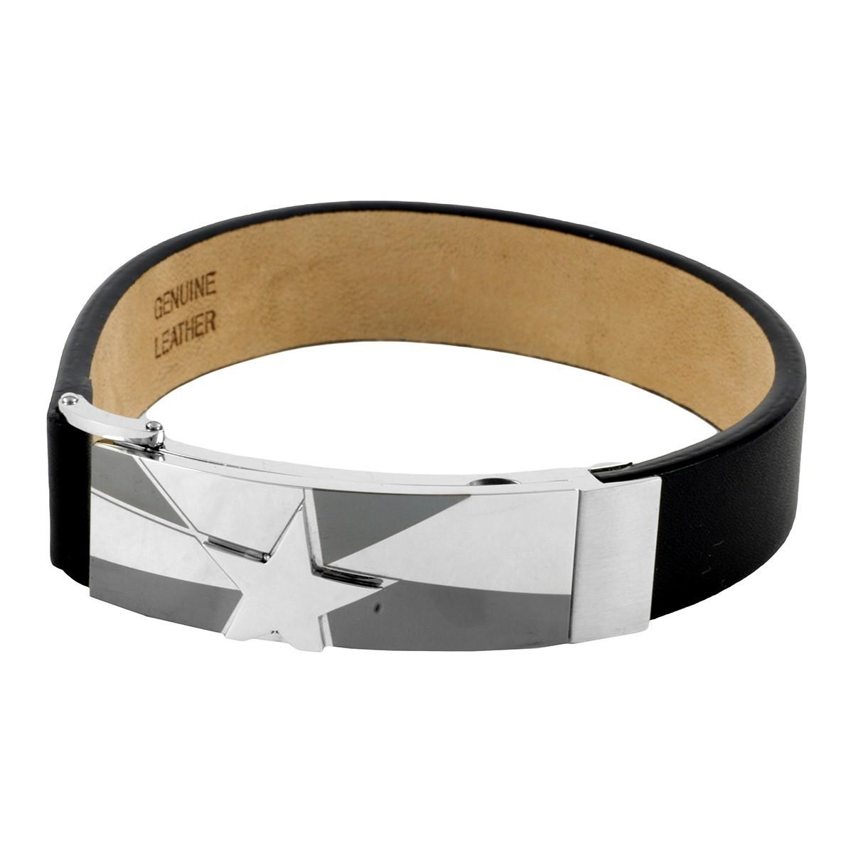 herren lederarmband herren armband lindenmann 19 cm schwarz 7995004. Black Bedroom Furniture Sets. Home Design Ideas